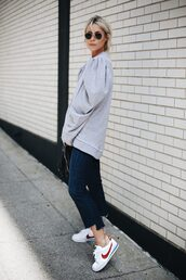 top,grey top,tumblr,sweatshirt,denim,jeans,blue jeans,puffed sleeves,sneakers,white sneakers,nike,nike shoes,sunglasses,shoes