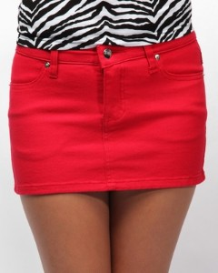 NYC Super Mini Denim Skirt - Red | Kaboodle