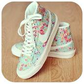 shoes,nike shoes,liberty,flowers,pastel,white,pink,basket,casual,nikes,high top nikes,nike leopard print,nike sportswear,dress,blue,nike,sneakers