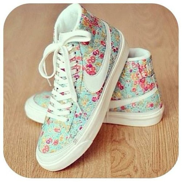 flowers shoes pink liberty white pastel nike basket casual nikes high top nikes pink, blue, print, flowers, crop top, crop, tops, nike leopard print nike sportswear dress, skirt, help, shoes, heels