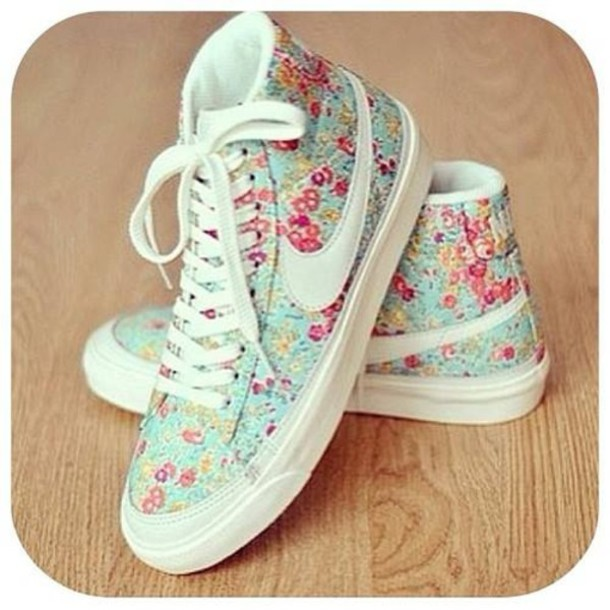 shoes nike shoes liberty flowers pastel white pink