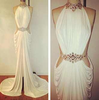 dress classy white dress prom dress evening dress evening outfits evening dresses open back royal blue stained glamourous glamour charme queen michael costello design?