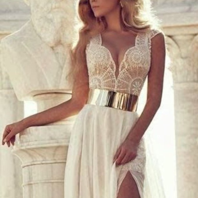 white and gold white prom dress with gold belt