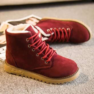 shoes boots fashion boots winter boots snow boots ankle boots black boots warm shoes woman women winter shoes burgundy