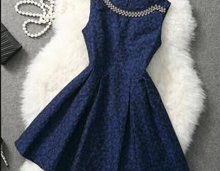 High quality slim blue party dress ..