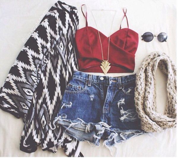 sweater tribal pattern tank top glasses infinity scarf shorts sunglasses shirt jewels