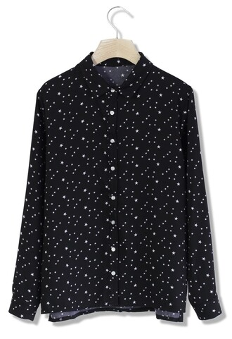 top chicwish starry midnight crepe shirt