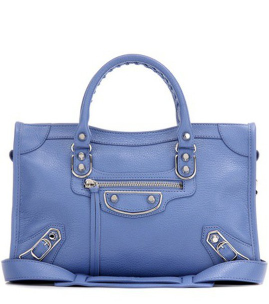 Balenciaga Classic Metallic Edge Small City Leather Shoulder Bag in blue