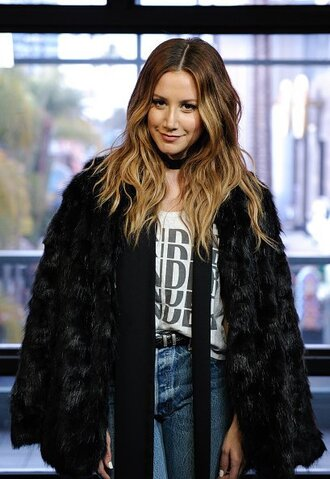 top jeans ashley tisdale fur jacket
