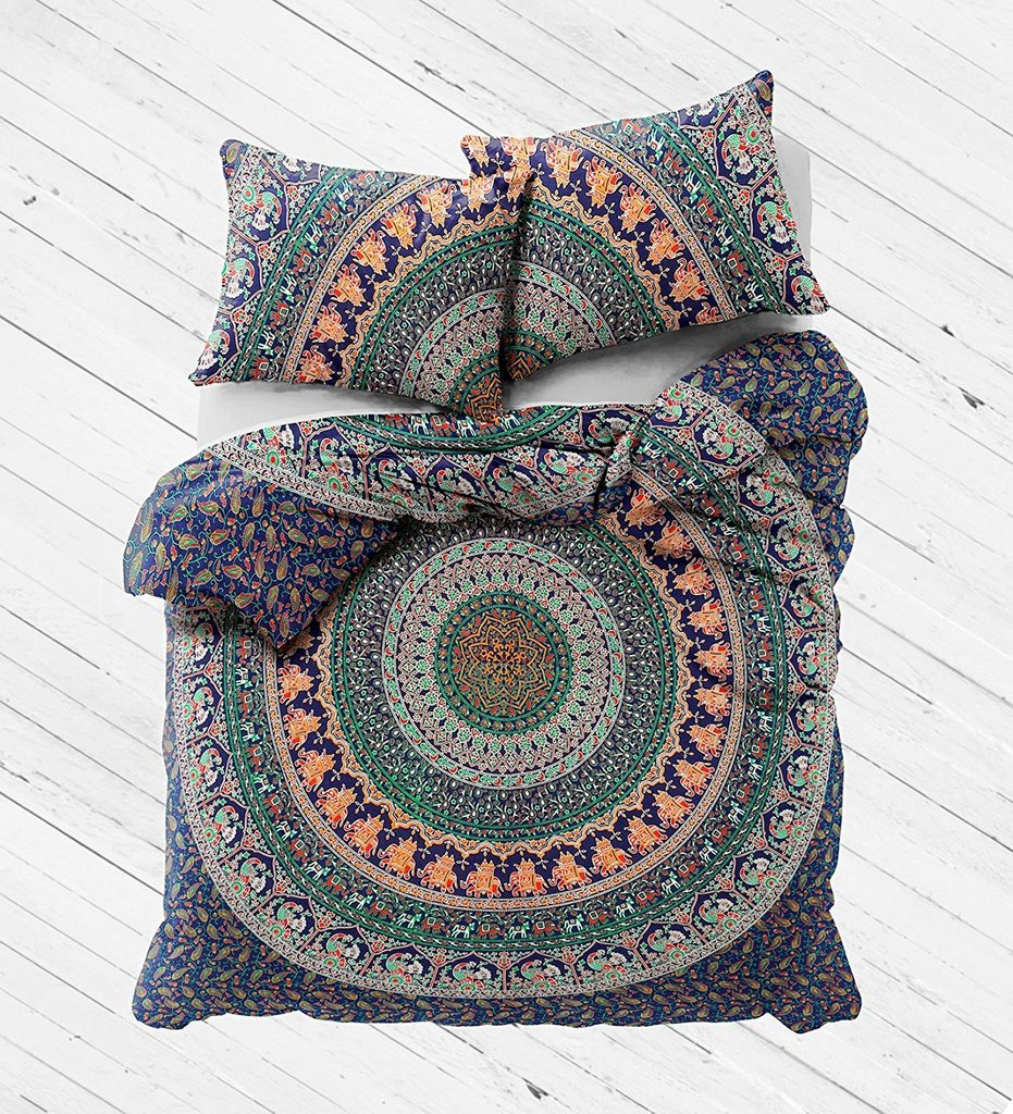 hippie camel printed queen mandala bed cover and matching pillows