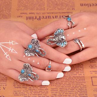 jewels jewelry boho jewelry minimalist jewelry silver jewelry frantic jewelry hand jewelry turquoise jewelry elephant elephant bracelet blue boho boho chic knuckle ring ring engagement ring rings cute summer silver ring gemstone ring statement ring