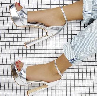 shoes windsor windsor smith metallic pumps high heels silver