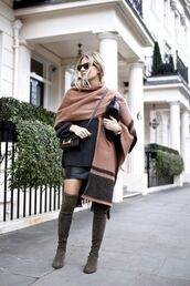 coat,tumblr,cape,sweater,black sweater,oversized sweater,oversized,bag,black bag,crossbody bag,mini skirt,black skirt,boots,over the knee boots,sunglasses
