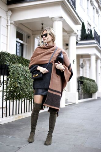 coat tumblr cape sweater black sweater oversized sweater oversized bag black bag crossbody bag mini skirt black skirt boots over the knee boots sunglasses