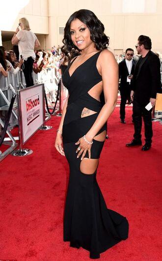 dress gown black dress taraji p. henson cut-out maxi dress billboard music awards