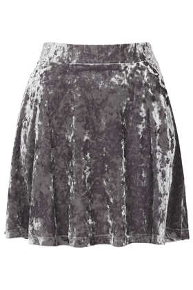 Grey Crush Velvet Skater Skirt - Topshop