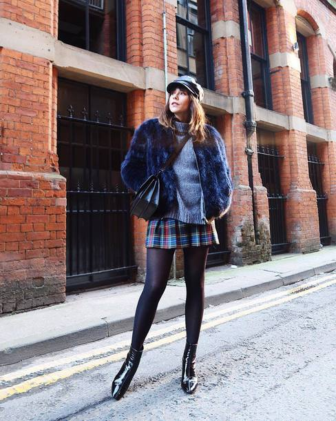 jacket tumblr fur jacket faux fur jacket blue jacket hat fisherman cap opaque tights tights skirt mini skirt plaid skirt tartan skirt tartan boots black boots ankle boots sweater