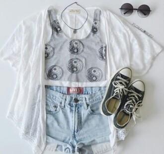 top tank top jeans pants shirt cardigan yin yang tumblr