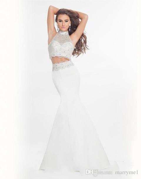 aeb82abeda6 dress high neck high neck prom dress mermaid prom dress 2 piece prom dress  white 2