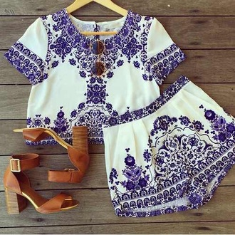 shorts white shorts purple floral white shirt shirt skirt sunglasses shoes