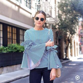 top tumblr bell sleeves stripes striped top ruffle sunglasses rayban bag