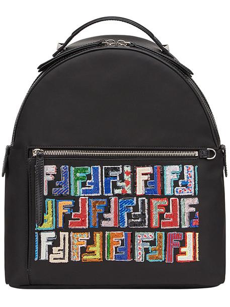 Fendi women spandex backpack leather cotton print black bag
