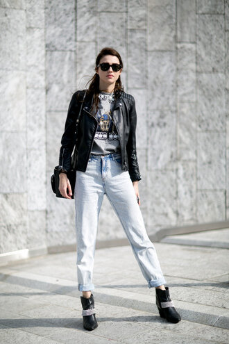 jeans boots model off-duty streetstyle fashion week 2016 milan fashion week 2016 jacket