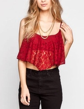 top,red top,clothes,lace,jeans,crop tops,fashion,style,lace up,cropped,acid wash,denim