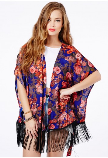 Amata Autumn Leaves Fringed Kimono - Kimonos - Tops - Missguided