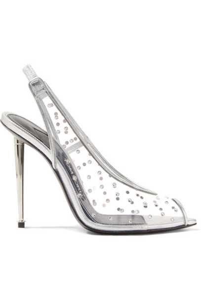 metallic embellished pumps silver leather shoes