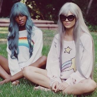 sweater kawaii pastel pastel hair stars