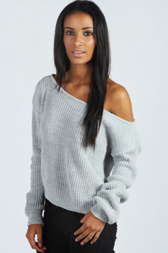 Natalie Slash Neck Crop Fisherman Jumper at boohoo.com