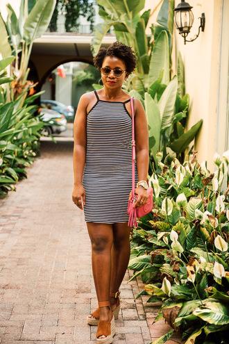 pinksole blogger sunglasses jewels stripes striped dress mini dress shoulder bag gucci pink bag