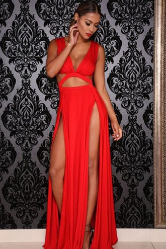 dress chic girly date dress cut-out wots-hot-right-now lingerie sexy dress side split maxi dress double slit skirt red dress sexy party dresses celebrity style plunge v neck