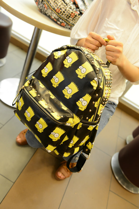 2013 Good quality  new Carton young bart man Simpsons  rivets punk PU leather backpack backpacks should school  bags black pink-in Backpacks from Luggage & Bags on Aliexpress.com