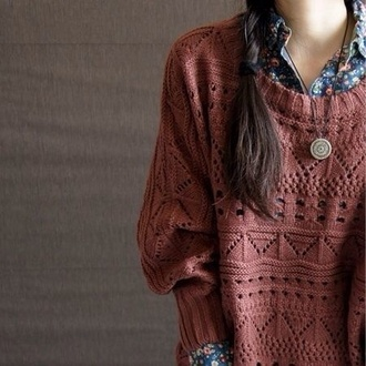 sweater hipster floral floral print blouse boho bohemian indie rock indie blouse marroon pattened coral crochet shirt