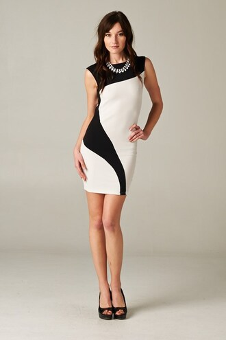 party outfits holidays fall outfits bodycon dress sleeveless colorblock black and white dress