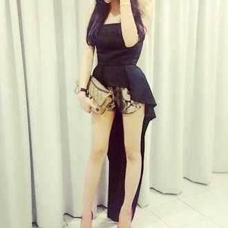blouse black long tail tuxed tube top