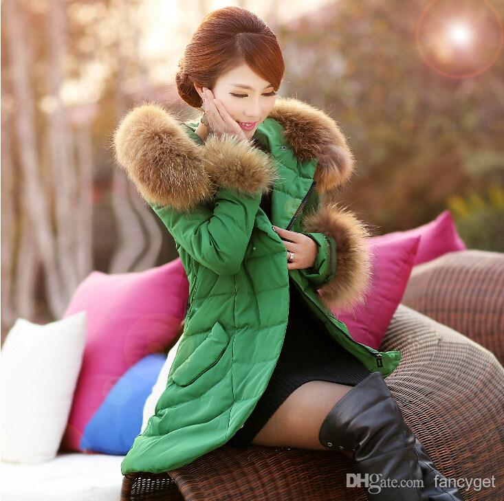 Buy new 2014 fashion slim winter outerwear coats women large fur collar long jackets women's thicken down parka plus size m