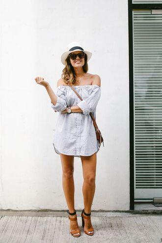 dress summer outfit idea white hat heels streetstyle sunglasses boho