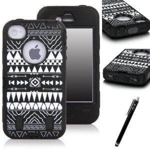 Amazon.com: E-LV Unique Tribal Stylish Design Hard Soft High Impact Hybrid Armor Defender Case Combo for Apple iPhone 4 4S 4G 4th Generation with 1 Black Stylus and Microfiber Digital Cleaner - Black: Cell Phones & Accessories