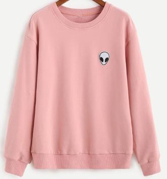 sweater pink alien girl girly crewneck sweatshirt girly wishlist