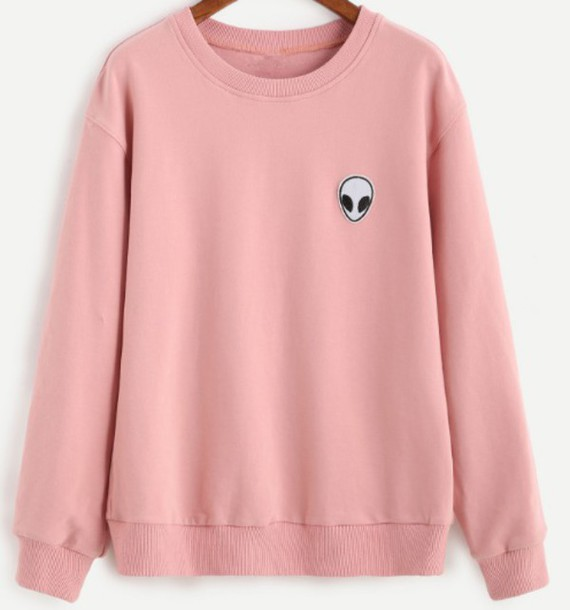 Sweater: pink, alien, girl, girly, crewneck, sweatshirt, girly ...