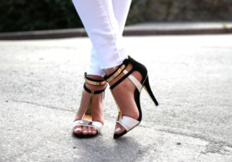 shoes heels sandals gold black high heels low heels