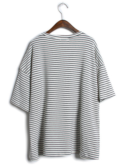 Grey Short Sleeve Striped Loose T-Shirt - Sheinside.com