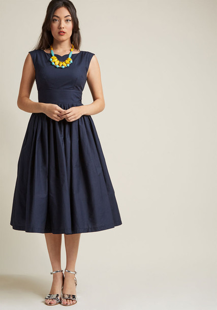 Modcloth dress flare dress flare fit fabulous navy blue