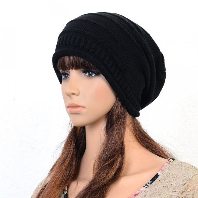 Mens Knit Crochet Slouch Cap Unisex Plicate Baggy Beanie Women's Hat Black Color | eBay
