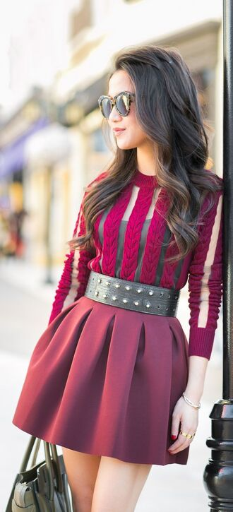 sweater jumper red see through autumn cute autumn outfit autumn style burgundy sweater red skirt