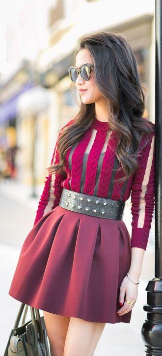 sweater jumper red see through autumn cute autumn outfit autumn style burgundy sweater red skirt