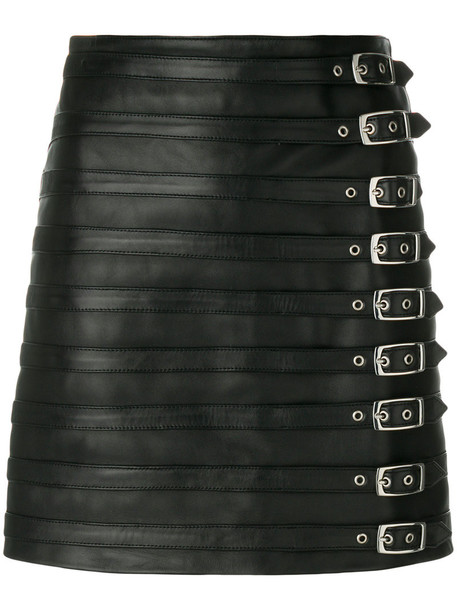 Manokhi - multi buckle skirt - women - Leather/Viscose/Polyester - 34, Black, Leather/Viscose/Polyester